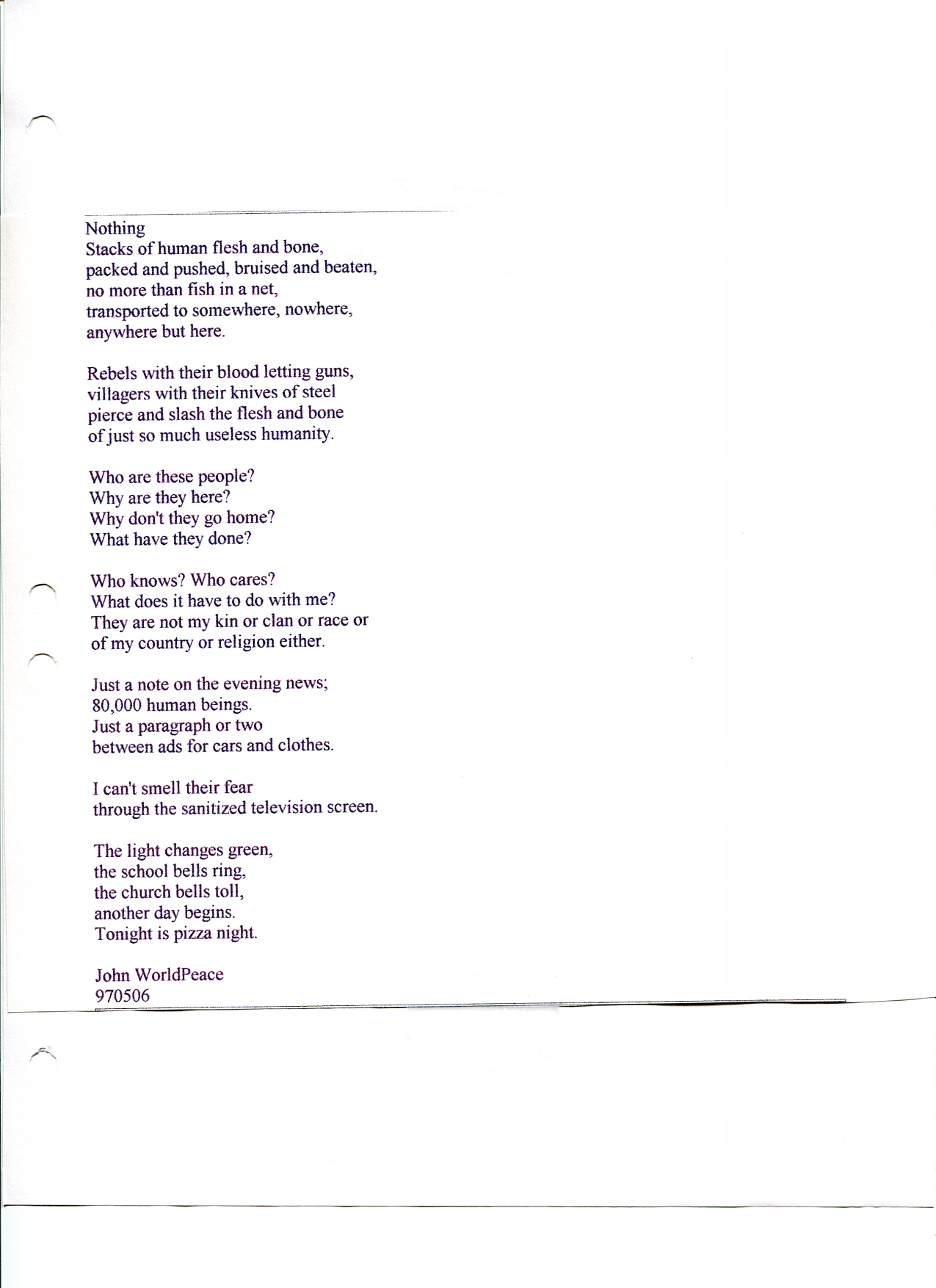 John WorldPeace Poems 1997 | World Peace Poems